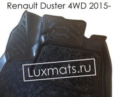 Автомобильные коврики в салон для Renault Duster 4WD (Рено Дастер рестайлинг)(2015-н.в.) 3D с ковролином